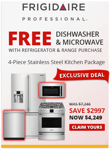 Save $2997 and Buy 2 Get 2 Free with this Frigidaire Professional Stainless Steel kitchen package