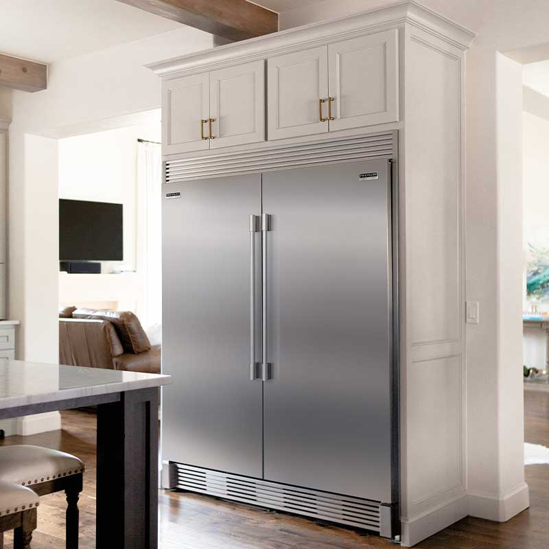 Close shot of Frigidaire Pro built in refrigeration