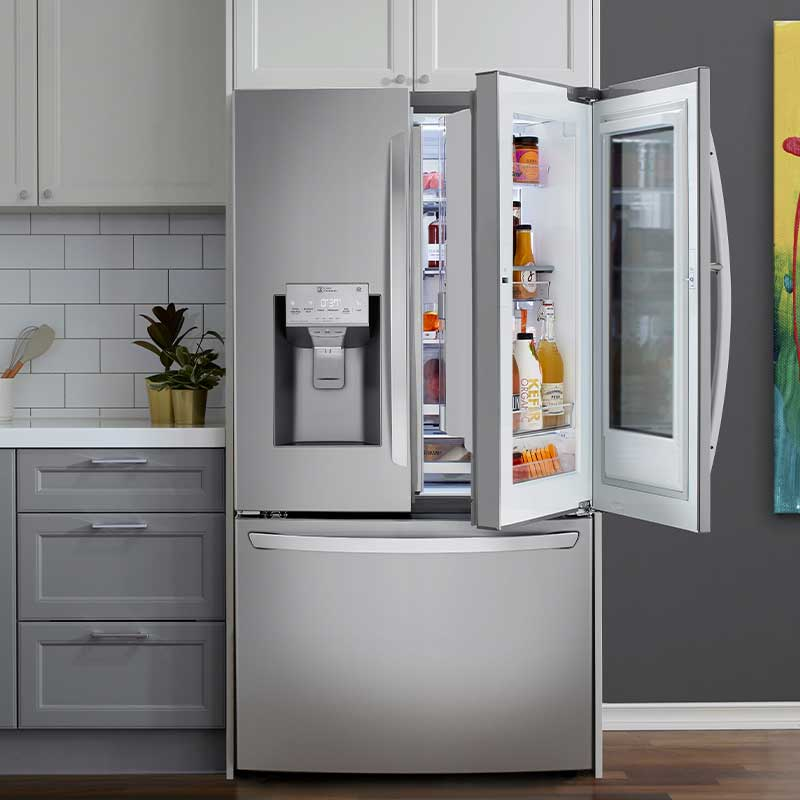 Close shot of LG refrigerator