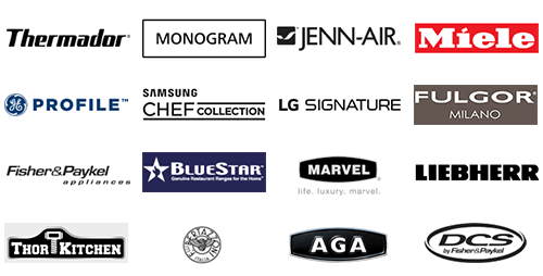 Great professional brands like Thermador, Monogram, Jenn-Air, Miele, Fulgor, Samsung Chef Collection, LG Signature, and more.