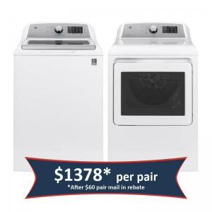 ®4.8 cu. ft. Capacity Washer and 7.4 cu. ft. Capacity aluminized alloy drum Electric Dryer - White/Gray (Pair)