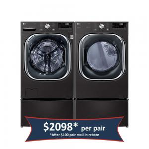 5.0 cu. ft. Mega Capacity Smart Front Load Washer with TurboWash™ and 7.4 cu. ft. Ultra Large Capacity Smart Front Load Electric Dryer with TurboSteam™ - Black Steel (Pair)