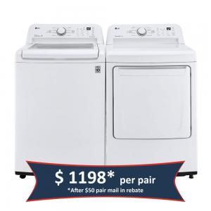 4.3 cu. ft. Ultra Large Capacity Top Load Washer and 7.3 cu. ft. Ultra Large Capacity aluminized alloy drum Electric Dryer - White (Pair)